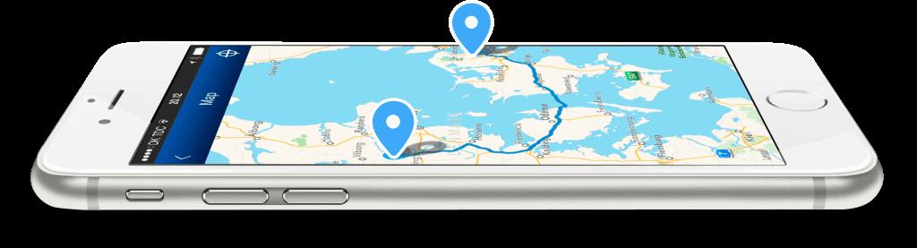 iPhone med Mileage Book tur på kort